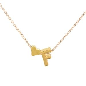 Jewelry - Yellow Gold Heart & F Initial Pendant Necklace